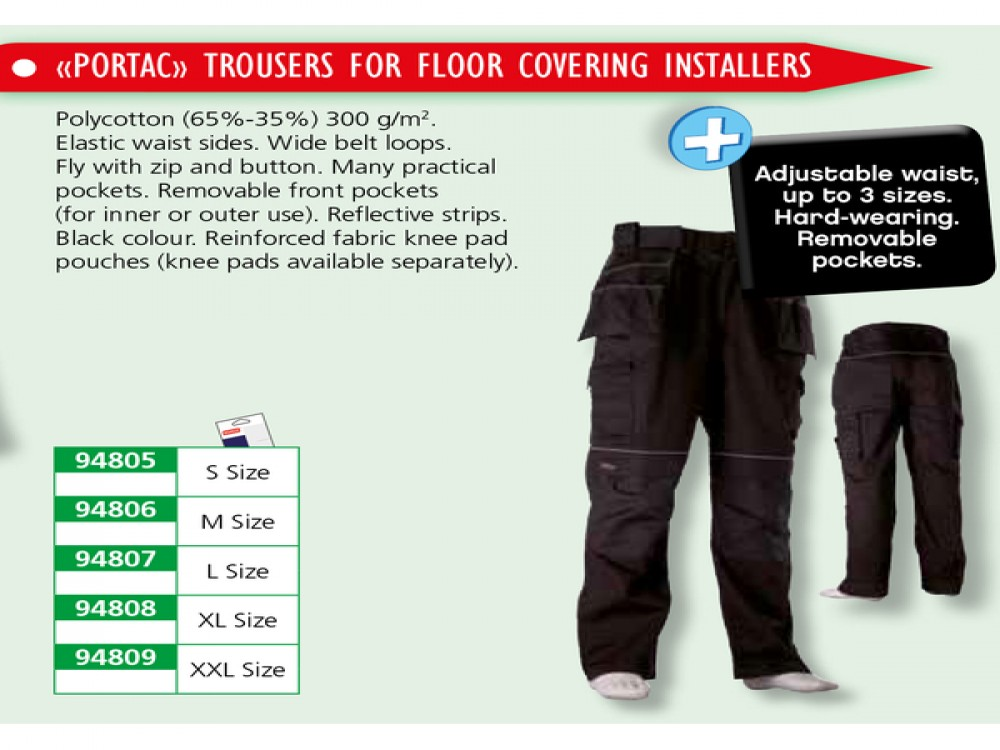 PORTAC TROUSERS FOR FLOOR COVERING INSTALLERS